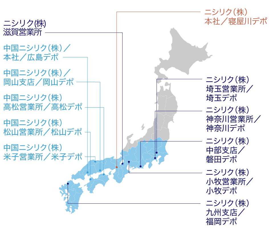 ニシリクネットラインロケーションマップ
